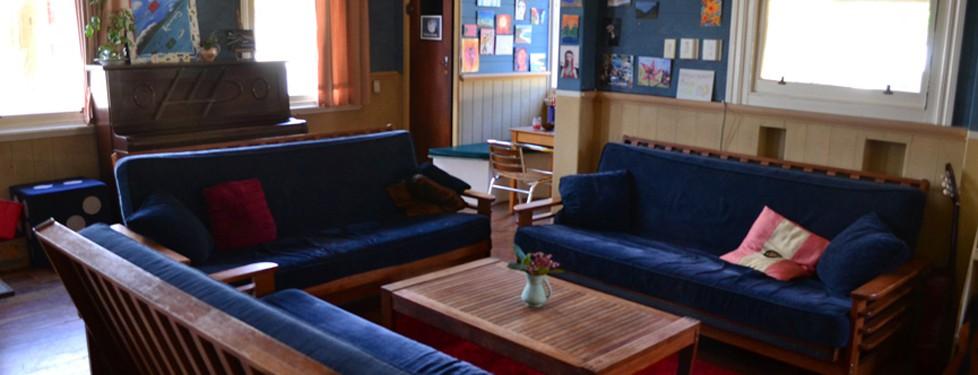 The hostel living room